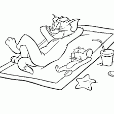Tom And Jerry Chilling On The Beach Coloring Page