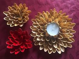Pistachio Shell Flowers And Candle Holder
