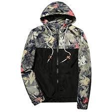 m lord mens floral printed light weight zip hooded hoodie jackets