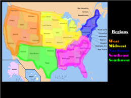 Map Of The 5 Regions United States