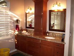 countertop linen storage in the bathroom
