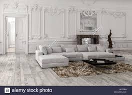 neutrale einfarbige weiße klassische wohnzimmer interieur