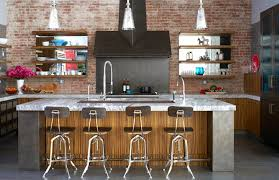 KitchenAdmirable Urban Kitchen With Marble Island And Exposed Brick Wall Also Dark Vent Hood