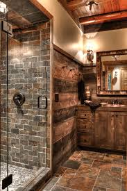 Rustic Shower Curtains Bathroom With Frameless Glass Recessed Lighting