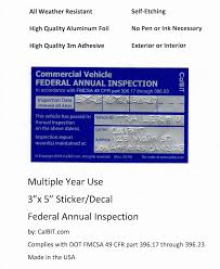 100 Dot Truck Inspection Amazoncom Federal Annual DOT Label Decal Sticker 5