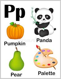 Alphabet letter P pictures stock vector Illustration of palette