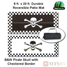 Reversible Patio Mats 8 X 20 by Mmi Reversible Patio Mat 8x20 Ft B U0026w Pirate Skull Checkered