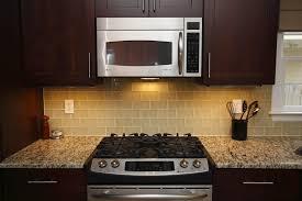 lush almond x light beige glass subway tile kitchen stove