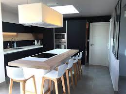 cuisine basse design d intérieur table noir et bois fabulous cuisine mat lgant