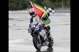Bryce Prince Displays The Guyana Flag And Chequered Yesterday At Frankie Boodhram International Raceway David Persad TriniTuner