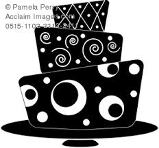 Clip Art Illustration of a Modern Fondant Cake in Black and White