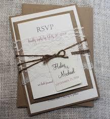 Rustic Wedding Invitation Lace Shabby Chic Stationary Custom