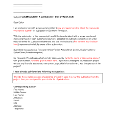 Cover Letter Example Journal Submission Cover Letter For