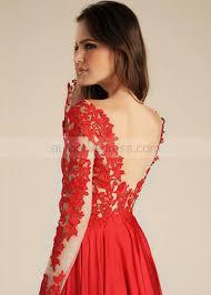red lace satin v back long evening dress