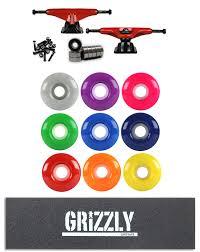 100 Grizzly Trucks TENSOR Skateboard TRUCKS Kit Mag Slider RED GRIZZLY STAMP GRIP