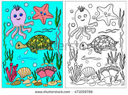 Coloring Book Hand Drawn Adults Children Sea Animals Vector Illustration