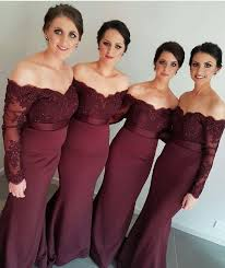 2017 new burgundy mermaid bridesmaid dresses off shoulder lace