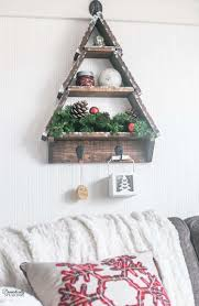 DIY Snowy Rustic Christmas Tree Shelf