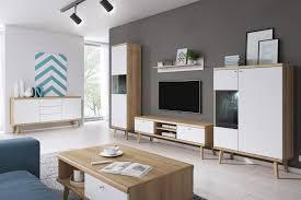 selsey wohnwand wohnzimmer set scandi i mit tv lowboard 2 x vitrinenschrank sideboard und wandregal weiß matt sonoma eiche mit