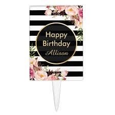 Vintage Floral Black White Stripes Happy Birthday Cake Topper