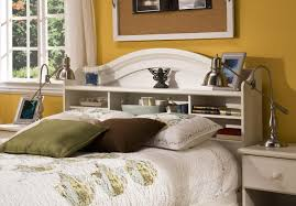 White Headboards King Size Beds by Lighted Bookcase Headboard Queen Midcentury Modern Heywood