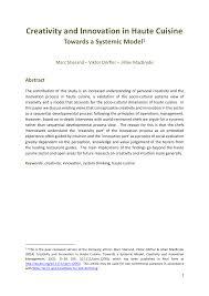 r ovation cuisine en ch e creativity and innovation in haute pdf available