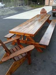 8ft Oversized Doug Fir picnic table with X Legs and separa…