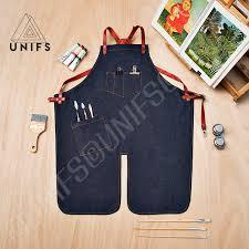 tablier de cuisine homme personnalisé tablier de travail en denim bleu foncé tablier chic et de