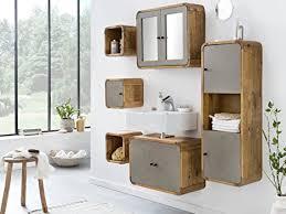woodkings badmöbel set dingle ii holz pinie rustikal und betonoptik grau badmöbel hängend für kleines bad mit hochschrank regale