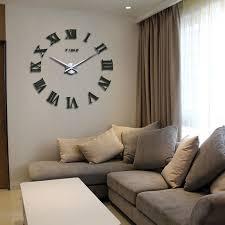 Promotion New Home Decor Large Roman Mirror Fashion Modern Quartz Clocks Living Room Diy Wall Clock Sticker Watch Free Shipping In From