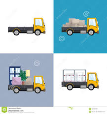 100 Different Trucks Yellow Small With Loads Stock Vector Illustration