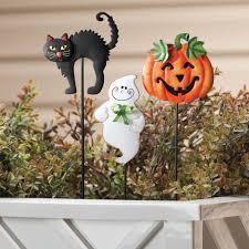 Halloween Pathway Lights Stakes by Halloween Plant Stakes Set Of 3 Metal Yard Art Miles Kimball