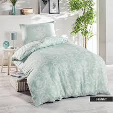 bettwäsche sheana in grün weiß 160x220 cm 2 teilig mit kissenbezug 50x70 cm