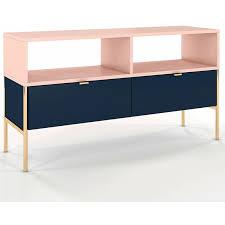 selsey lesari tv lowboard fernsehschrank mit 2 schubladen 2 offenen fächern metallgestell in gold 120 cm dunkelblau pink