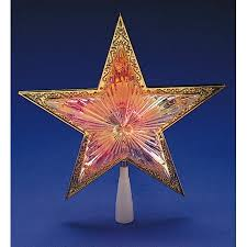 10 Lighted Gold Star Christmas Tree Topper