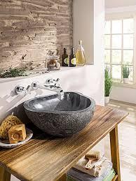 heine home waschbecken aus echtem flussstein anthrazit im