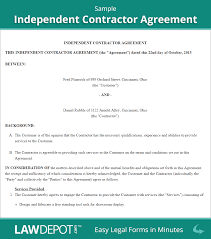 Sample Indendent Contractor Agreement Photo Gallery On Website Independent Consultant Contract Template