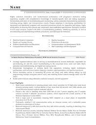 Aviation Electrical Maintenance Personnel DOD Secret Security Clearance Resume Sample