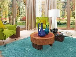 moderne wohnzimmer mit sitzecke mit zwei stühlen bequeme stühle im stil des kitsches grüne farbe mit einem couchtisch und stehle weiß 3d