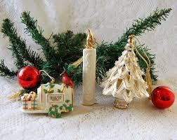3 Lenox Christmas Ornaments Porcelain Mailbox Candle Tree Ornament