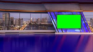 News TV Studio Set 168 Virtual Green Screen Background Loop Stock Video Footage