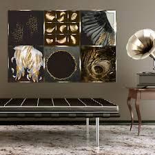 details zu gold leinwand bild abstrakt wand bilder deko kunstdruck wohnzimmer schwarz
