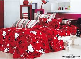 Hello Kitty Bed Duvet Cover Set Queen Size White With Red