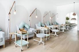 Nail Salon Spa Interiors Hospitality Design Pendant Lighting Aqua Furniture