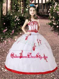 white and red little pageant dress with appliques 142 58