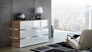 kommode shine sideboard 120 cm weiß hochglanz sonoma eiche led beleuchtung modern design tv möbel anrichte sigma