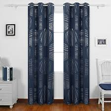 Navy Geometric Pattern Curtains by Amazon Com Deconovo Geometric Circle Pattern Curtains Blackout