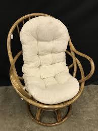 Lot: Bamboo Swivel Chair W/Cushion Is 31
