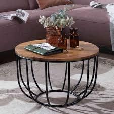 finebuy couchtisch fb51039 couchtisch 60x39x60cm sheesham massivholz metall korbtisch design sofatisch wohnzimmertisch rund stubentisch
