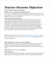 Experienced Teacher Resume Objective